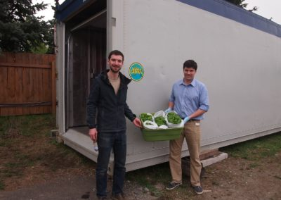 Cameron and Dan with our first harvest