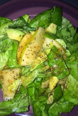 Butterhead lettuce, pear, chia seeds and ginger/sesame vinaigrette salad