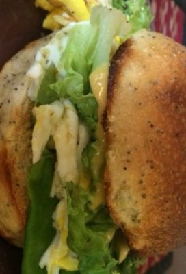 Breakfast sandwich - Fire Island Onion roll and Butterhead Lettuce
