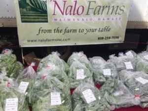 Nalo Farms sells their greens at KCC  Farmers Marker, Oahu, Hawaii.